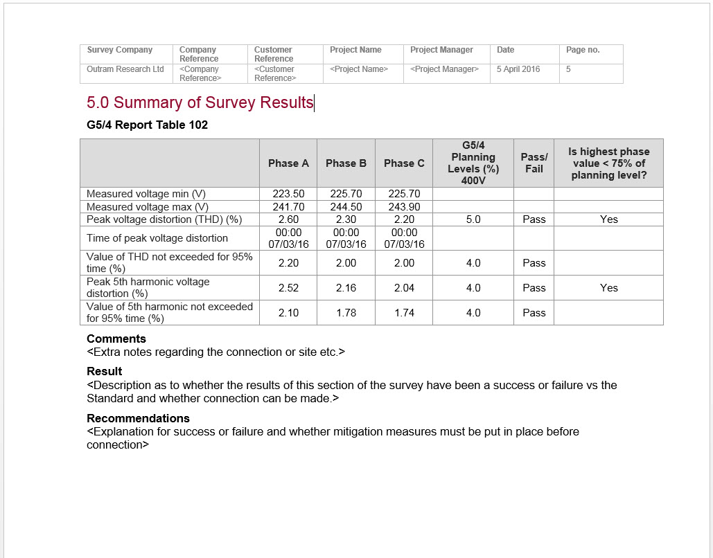 Summary of Survey Results document