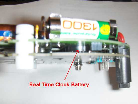 side view of circuit board showing the real time clock battery.