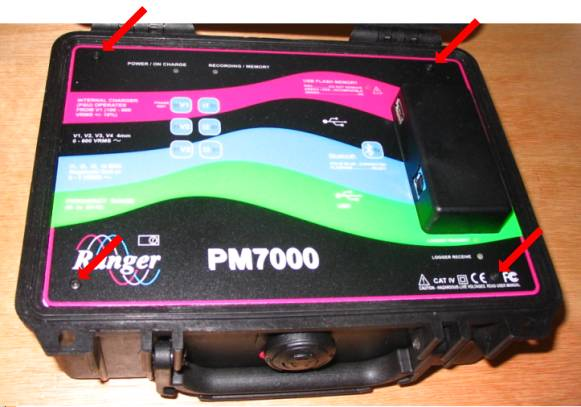View of Pm7000 front panel showing location of four black 2.5mm screws