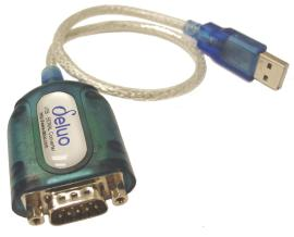Deluo branded, in translucent blue with 9 pin D